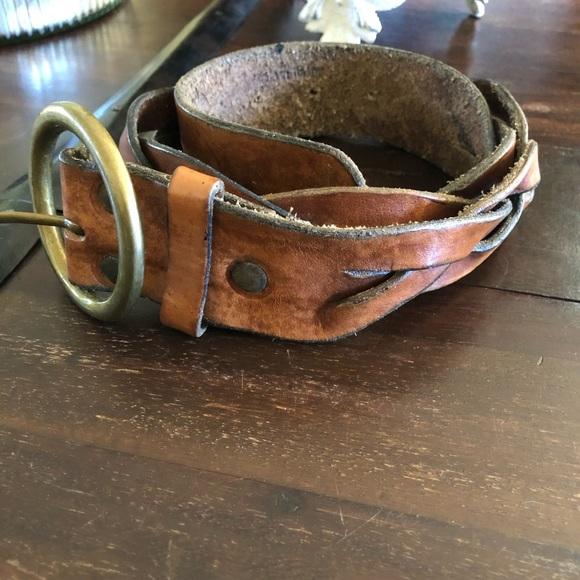 Red label Hilfiger tan leather Braided belt